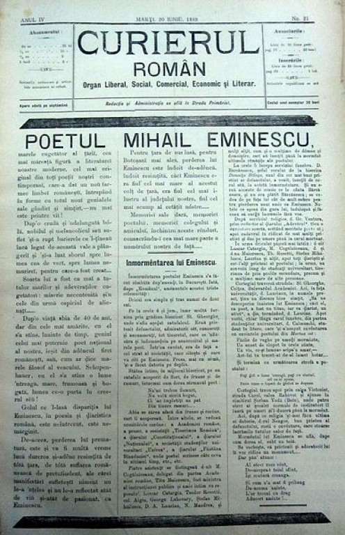 """The cover of """"Curierul Român"""", Issue no. 21, June 20, 1889; Founder and Director: Ioniţă Scipione Bădescu (1847-1904).  Obiturary and memorial five days after his death."""