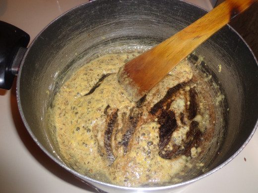 Gram flour is added inside and sauted well