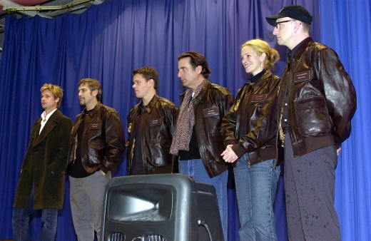 "The cast and director of ""Oceans Eleven"" at Incirlik Air Base in Turkey, entertaining troops."