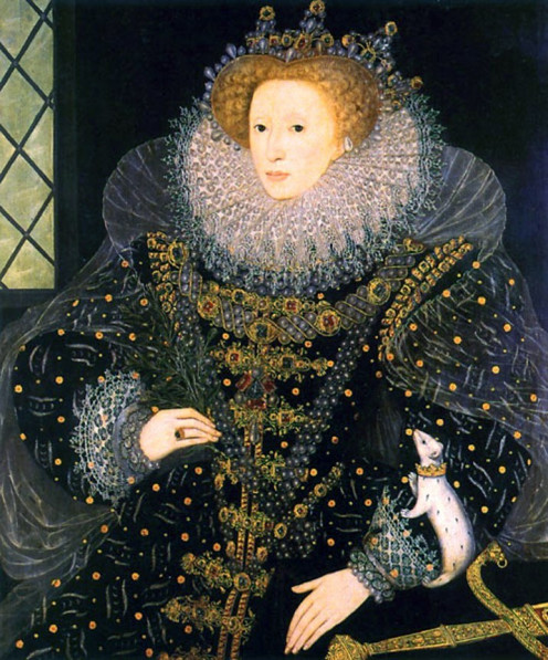 "Queen Elizabeth I, The Virgin Queen  ""The Ermine Portrait"" by Nicholas Hilliard in a private collection"