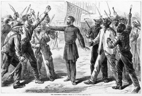 Man (Most likely depicted as General Howard) representing the Freedman's Bureau stands between armed groups of Euro-Americans and Afro-Americans The Freedmen's Bureau / Drawn by A.R. Waud.