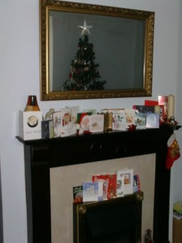 Christmas Cards on the Mantle