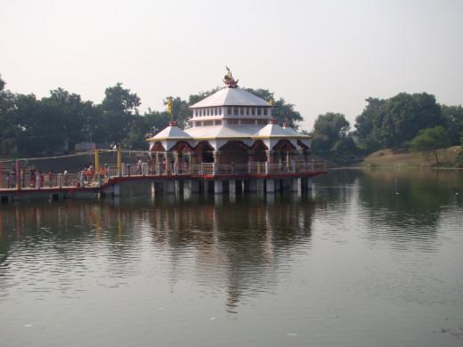 Lakshmi-Narayana temple at the centre of Papharani, the large pond at the base