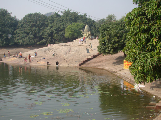 Papharani, the large pond at the base