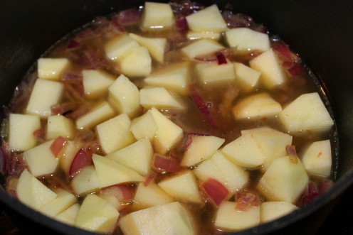 Onions, Potatoes and Low Sodium Chicken Broth simmering for the chowder