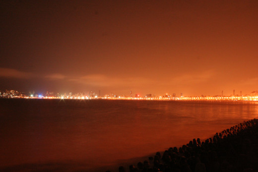 The breathtaking and majestic view Marine Drive. The streets lights are akin to the pearls in the Necklace.