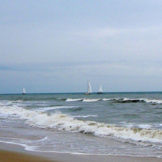 The sea was turning, the wind was blowing, but the sailboats stayed on course.