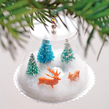 Plastic Cup Snow Globe Ornaments