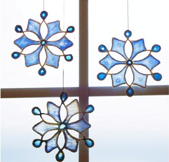 Stained Glass Glue Snowflakes