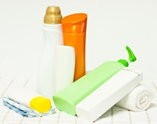 Set of cosmetics on a towel