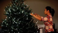 How to put lights on a Christmas tree?