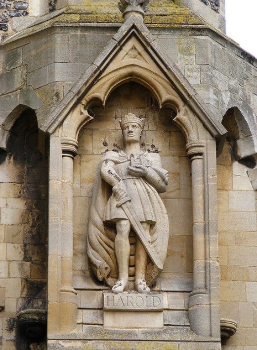Statue of Harold at the south-west corner of the abbey church, Waltham