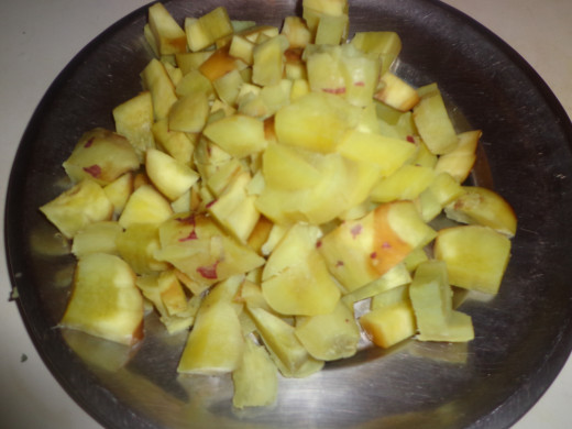 Cooked sweet potato cubes