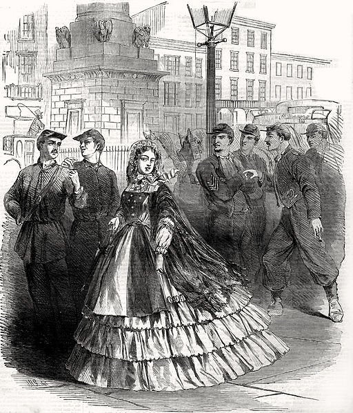 "Cover Illustration taken from the cover of Harper's Weekly, September 7, 1861 showing a stereotypical ""Southern belle"" in Baltimore"