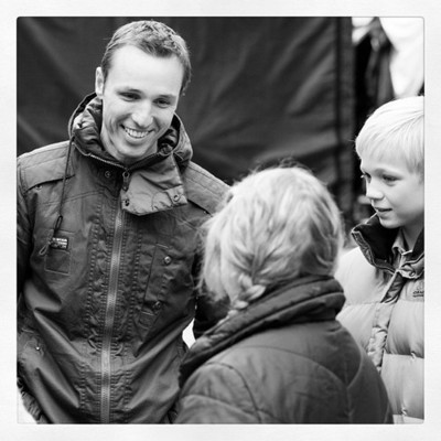 "Markus Zusak on the set of the filming of his novel, ""The Book Thief."""
