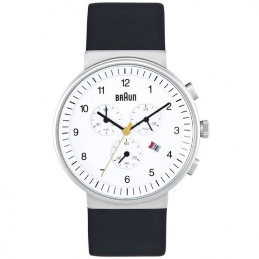 Mens White Chrono Dial Black Leather Strap Watch