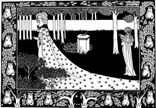 La Beale Isoud at Joyous Gard by Aubrey Beardsley. From Le Morte d'Arthur, 1893-94.