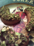 Pistachio and chocolate dipped Crescent rolls