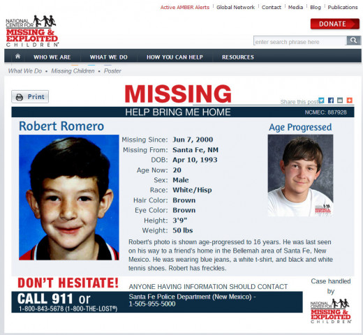 Robert Romero, missing since June 7, 2000 from Santa Fe, New Mexico
