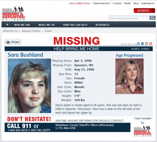 Sara Bushland, missing since April 16, 1996 from Spooner, Wisconsin