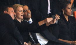 Ahhh-the selfie but Mrs. Obama is SOOO annoyed
