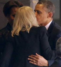 President Obama greets the Danish PM- there is chemistry here because he does not greet all female PM's in this manner