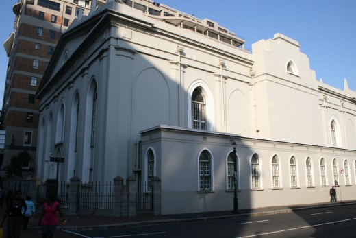 The Grootte Kerk in Adderley Street. The foundation stone of the building was laid by the then Governor of the Cape Colony Simon van der Stel. He was Governor from 1699 to 1707.