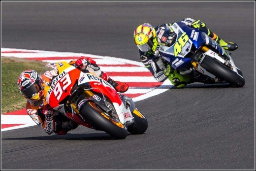 MotoGP: Marc Marquez  no. 93 leading Valentino Rossi no. 46 in practice session at Silverstone, 2013.