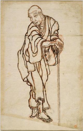 A self-portrait of Hokusai in ukiyo-e.