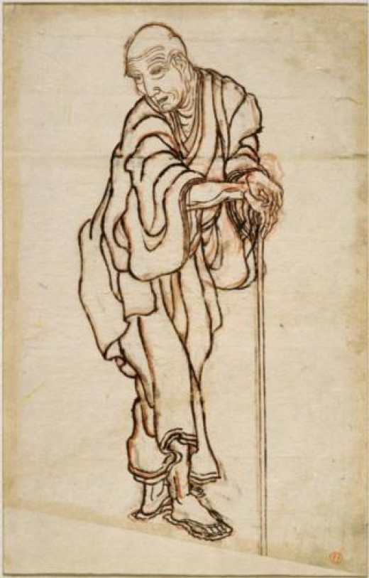 A self-portrait of Hokusai in ukiyo-e.