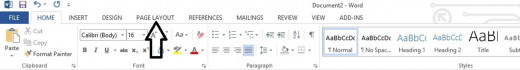 "Learn where the ""Page Layout"" icon is within Microsoft 2013 toolbar"