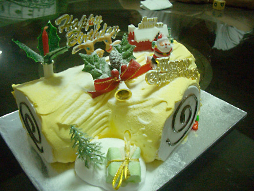 A Yule log flavoured with durian and covered with a light frosting