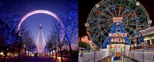 Left is London Eye; Right is Wonder Wheel