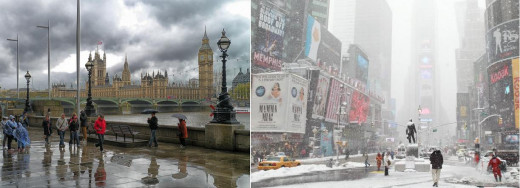 Left is London in rain; Right is New York in Snow