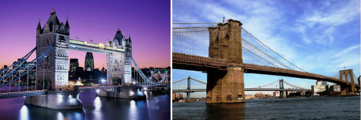 Left is Tower Bridge; Right is Brooklyn Bridge