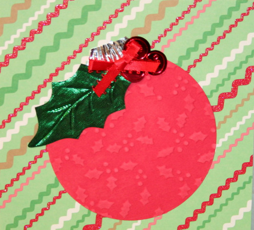 Handmade Christmas card using Christmas tree ornament for inspiration.