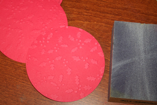 After, I sanded the embossing with a light sanding block.