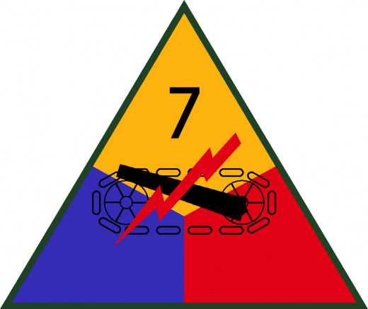 "US Army 7th Armored Division Shoulder Sleeve Insignia. The ""Lucky Seven"" Division."