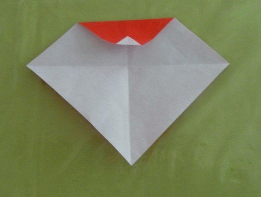 Fold the corner so that it touches the red crease line.