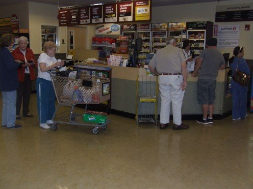 Line to play the lotery at a local grocery store.