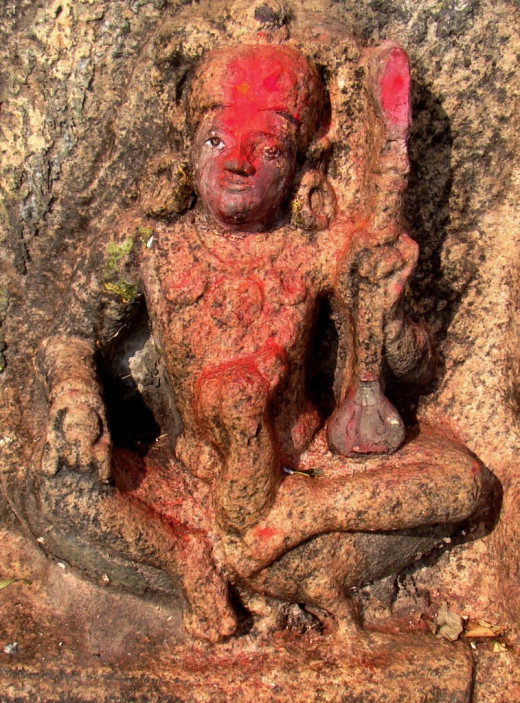A sculpture (may be an idol of Goddess Saraswati)