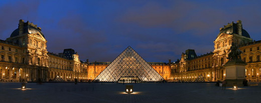 The courtyard of the Musée du Louvre (Louvre Museum) and its pyramid entrance in Paris, France was photographed by Benh Lieu Song on February 24, 2007.