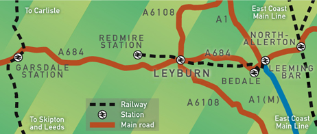 The dotted line represents the route of the Wensleydale Railway between Redmire and Leeming Bar. The line east has been opened to Northallerton West, with plans to extend to Northallerton Low Level; westward work is to reach Aysgarth (2.5 miles) .