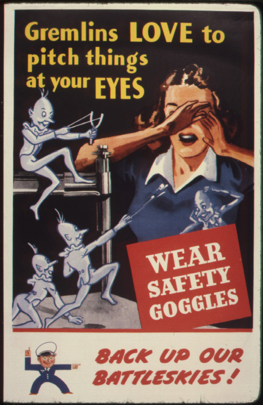 Wearing safety goggles will protect your eyes from fiberglass in rolled batting