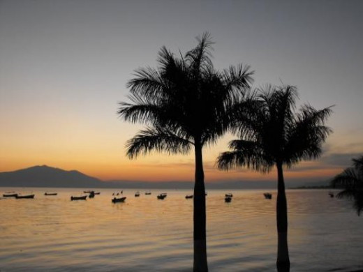 Lake Chapala, Mexico at sunset
