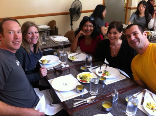 Members of the HubPages Team (2011) with hubber Lela at lunch.  Left to right: Paul, Robin, Pia, Lela, and Jason.