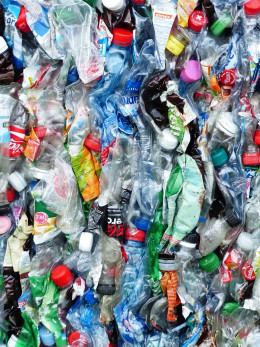 Crushed plastic bottles