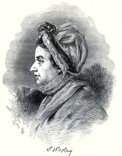 Engraving of Susanna Wesley, nee Annesley ('Illust. Hist. of Methodism in Gr. Britain, America & Australia' by WBDaniels, copyright 1884)