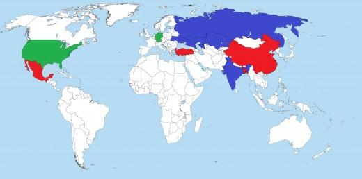 Green - Main Destinations;  Red - Main Origins;  Blue - Both Emigrants and Immigrants.