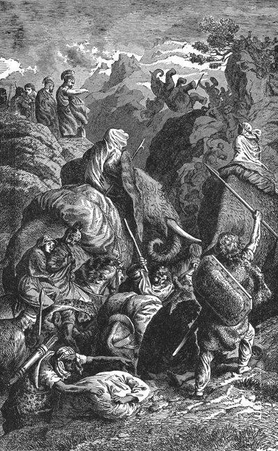 General Hannibal Barca crossing the Alps